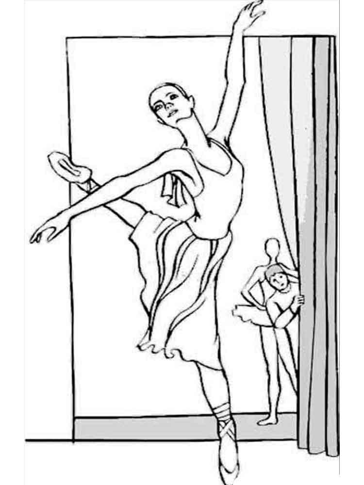 Раскраска балерина танцует