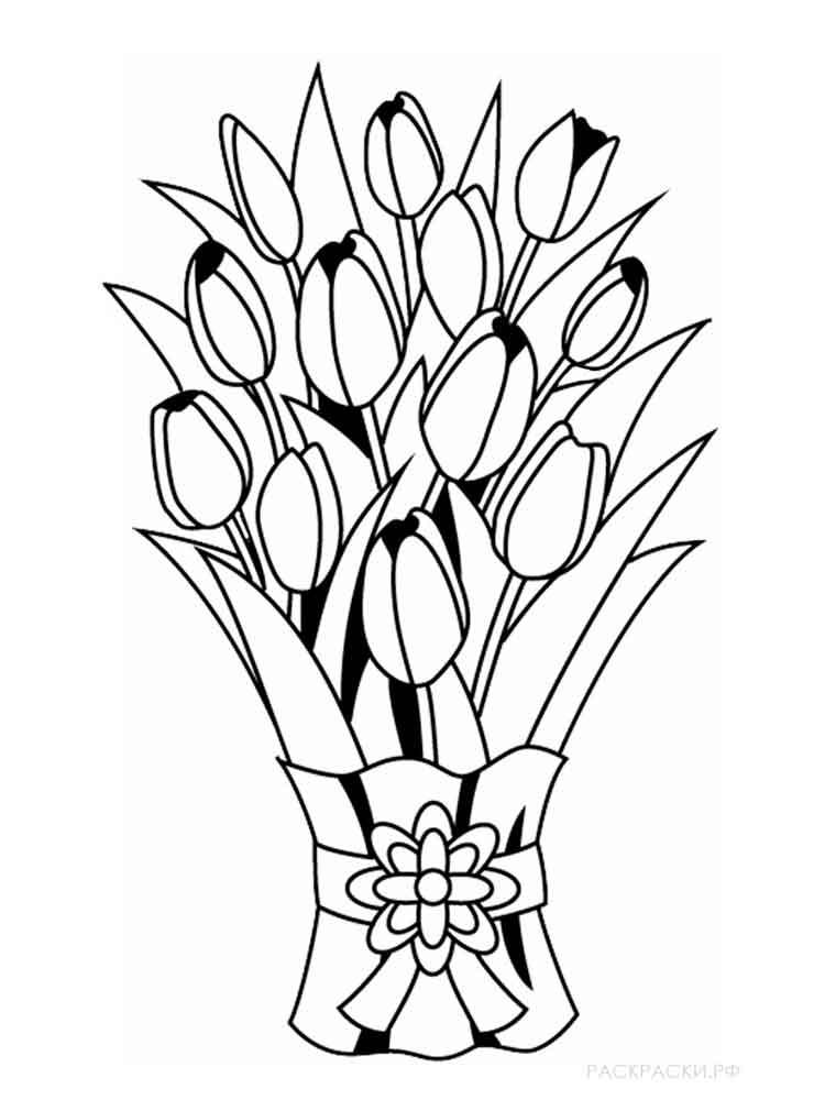 Букет цветов для раскрашивания