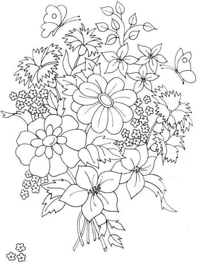 Цветы букет раскраска для детей