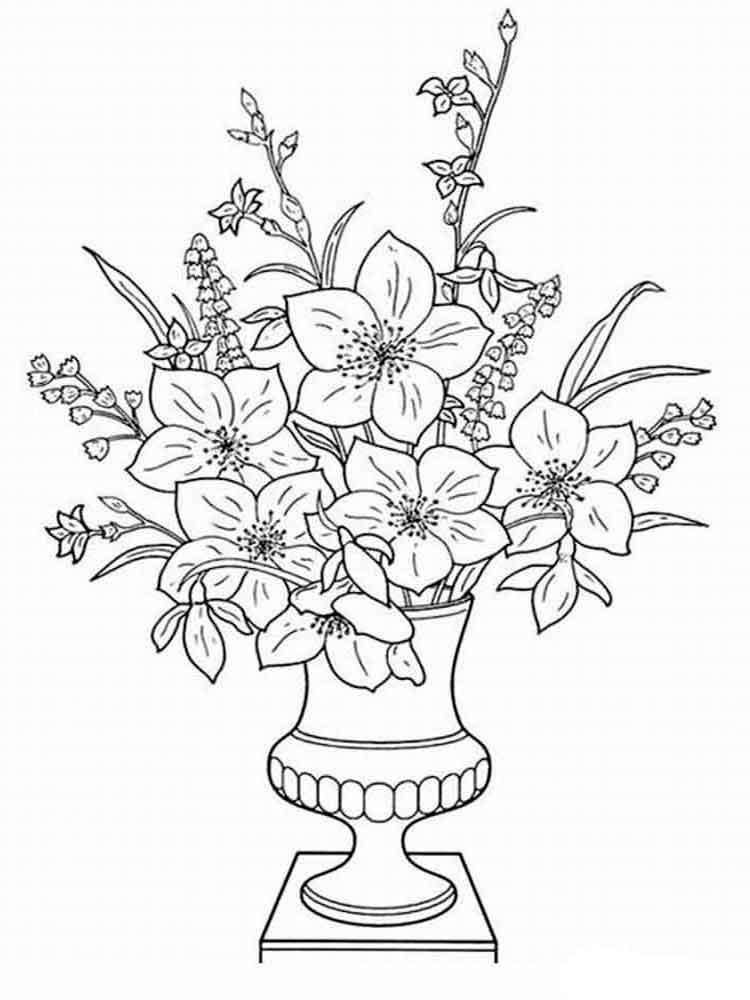распечатать раскраски цветы в вазе ветки необходимо закрепить