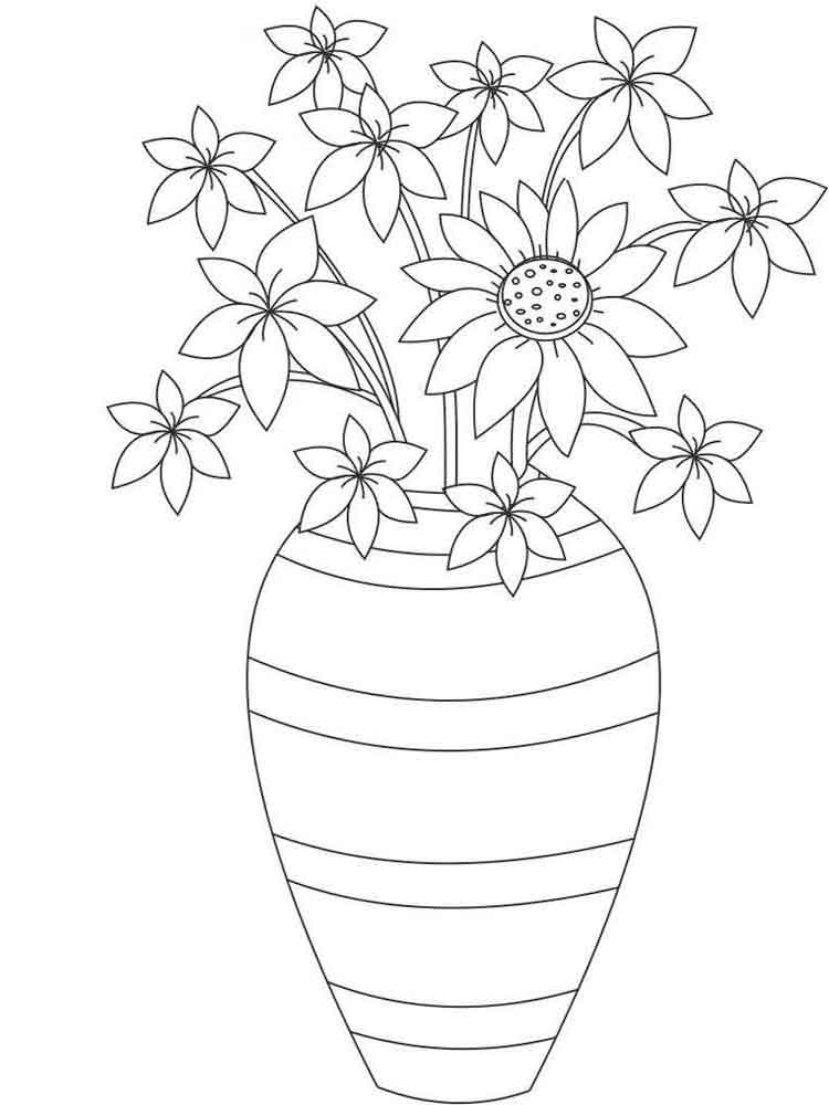 Раскраска цветов в вазе, модницы открытки прикольные