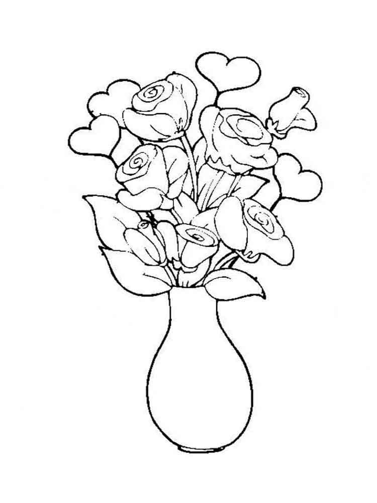 то, распечатать раскраски цветы в вазе днем