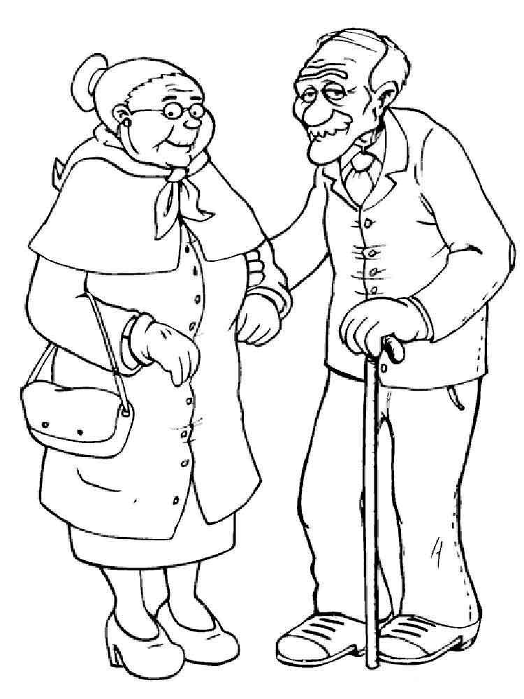 Открытка раскраска с днем пожилого человека распечатать, 100 100