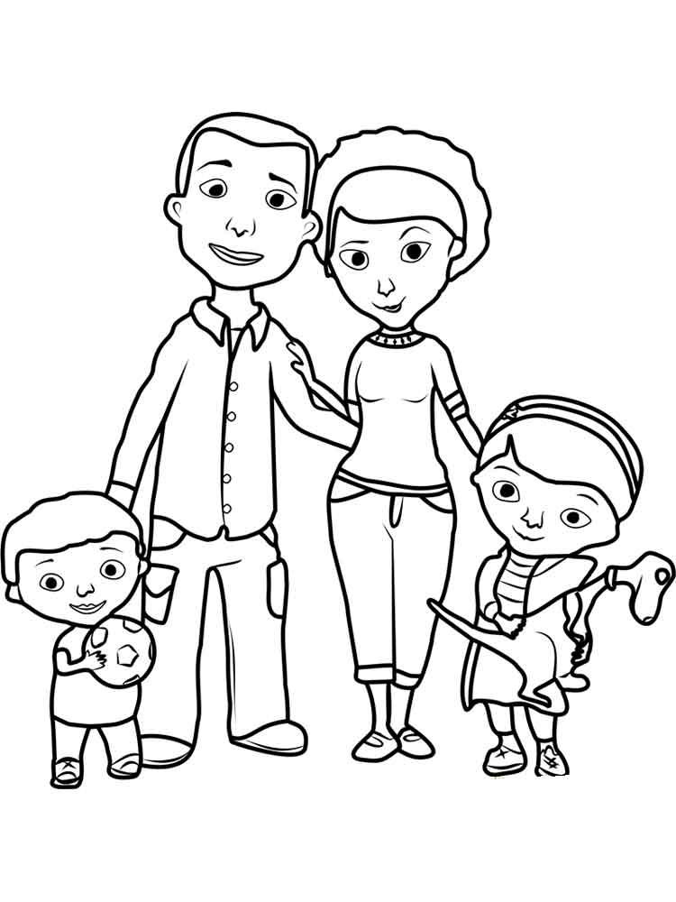 Мама папа я раскраска для детей