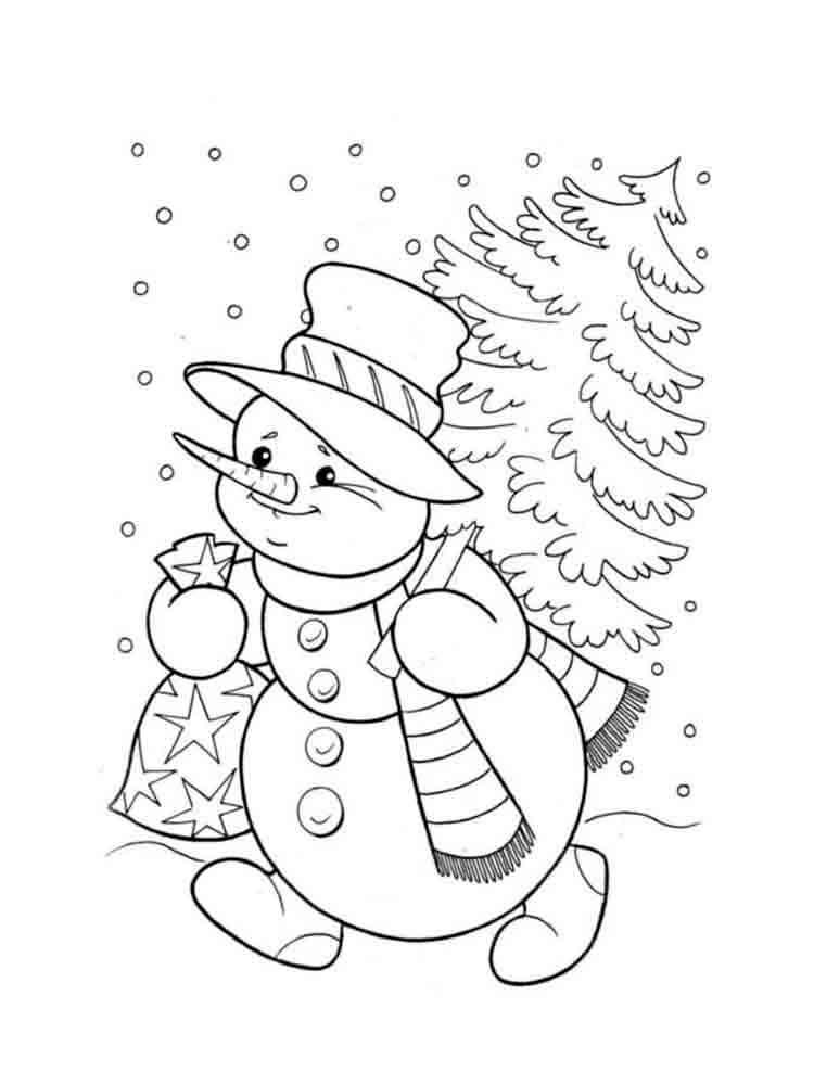 Снеговики картинка раскраска