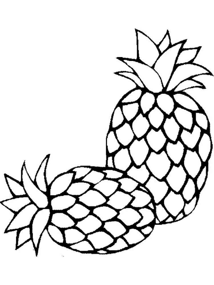 Картинка ананас для детей на прозрачном фоне черно белый