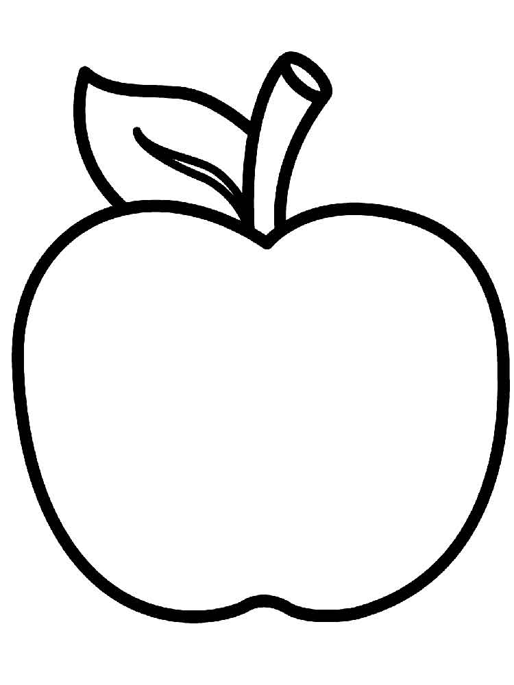 Яблоко раскраска для детей распечатать