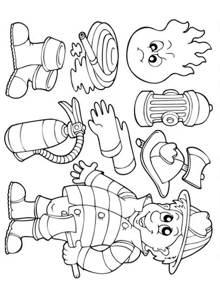 картинки раскраски что необходимо пожарнику стекло использовалось для
