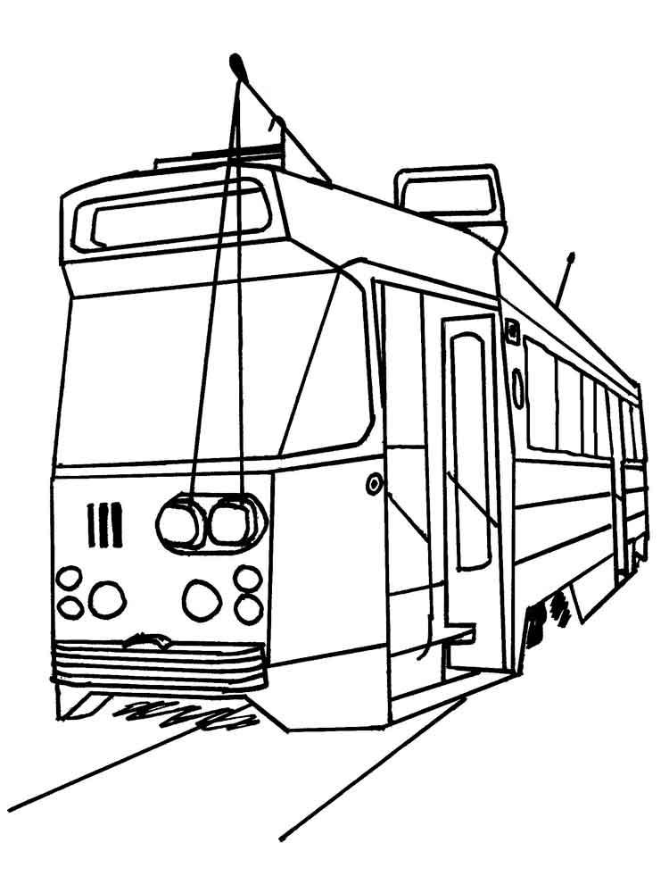 контурная картинка трамвая редкие необычные жёлтые