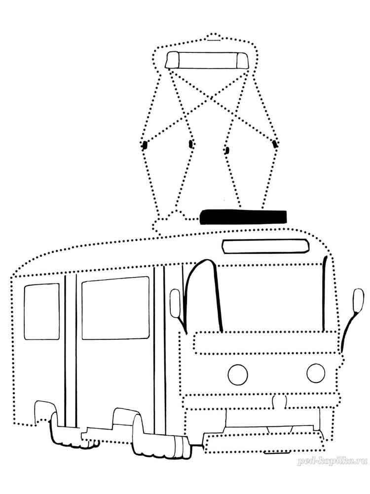 автобус картинка по точкам