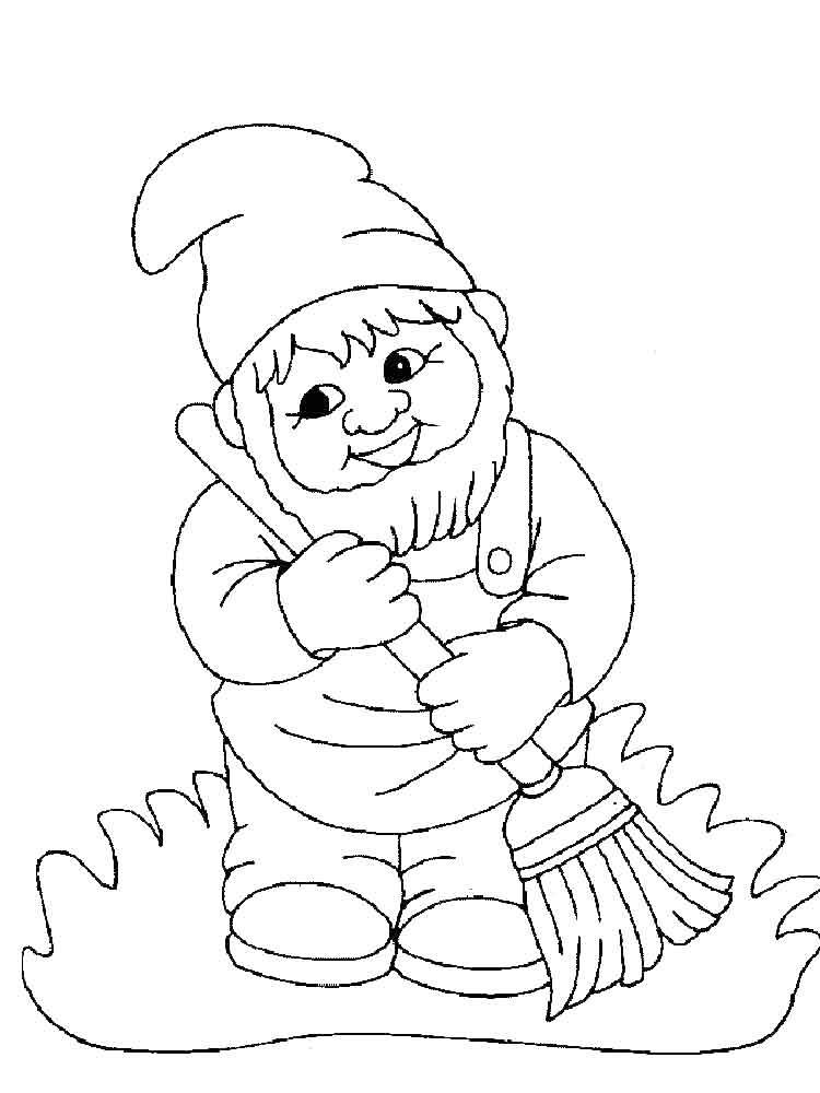 гномик раскраска для малышей
