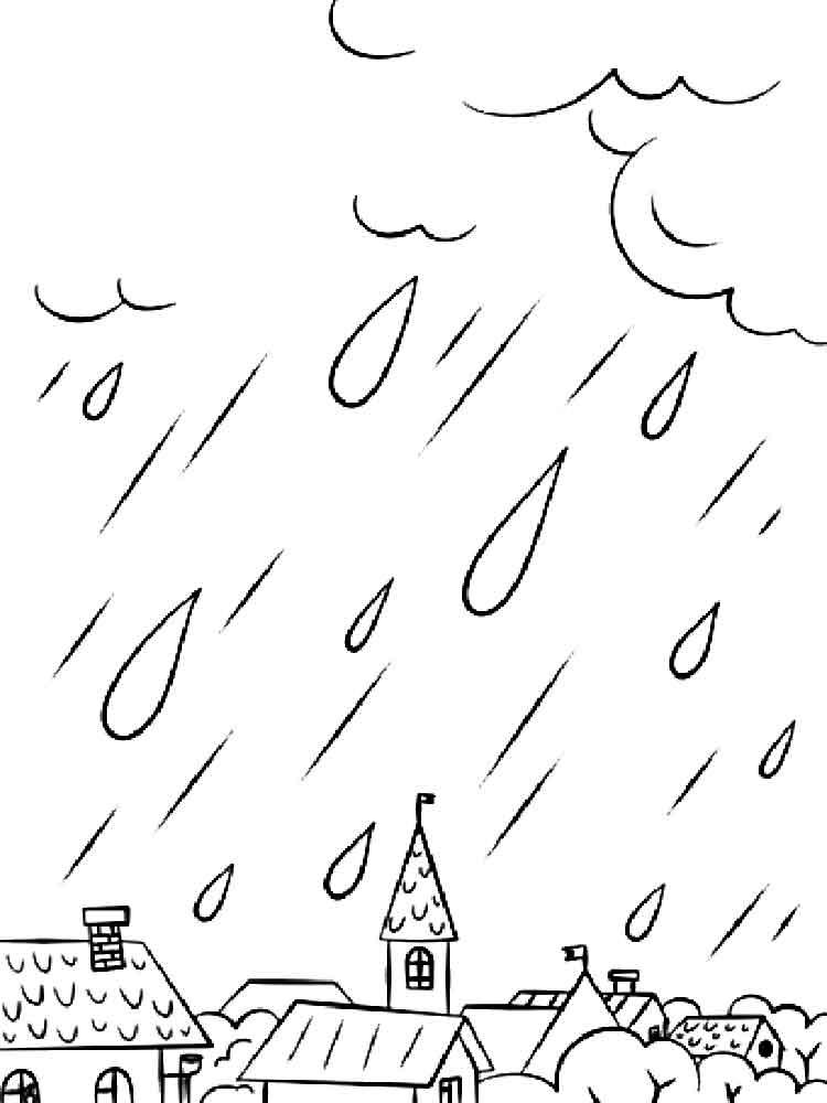Картинки раскраски дождя