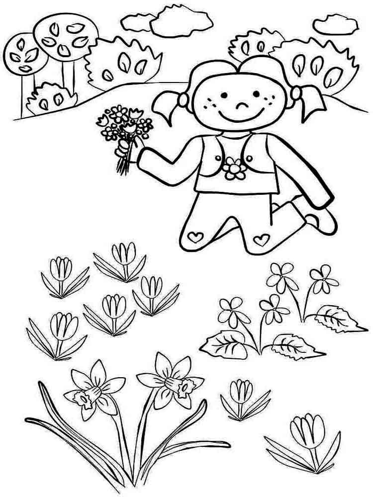 Картинки раскраски дети весной