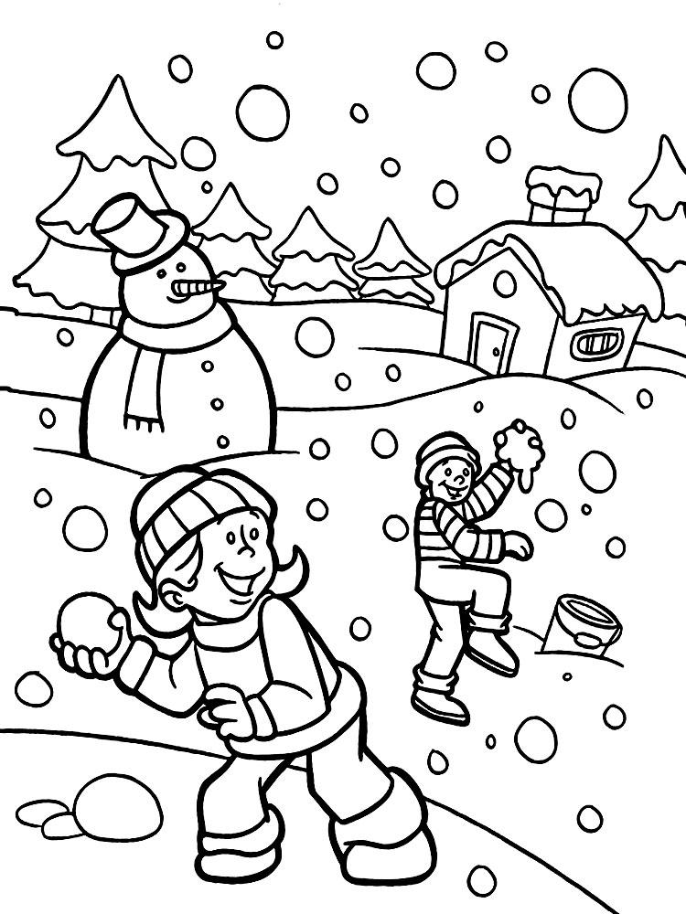 Время года зима картинки для детей раскраски