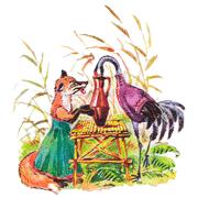 Раскраски Лиса и Журавль