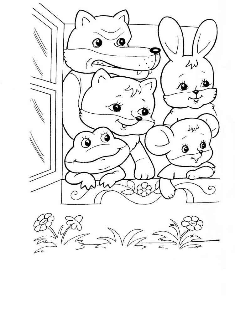 Картинки из сказки теремок для детей раскраски