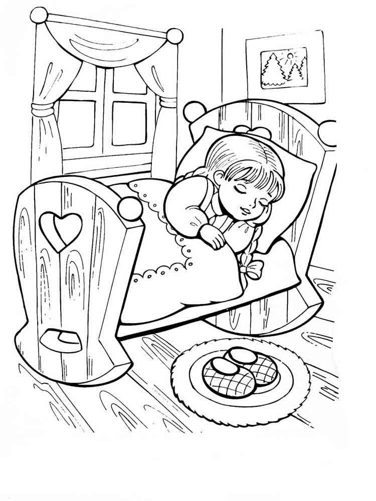 Раскраска сказка три медведя для малышей